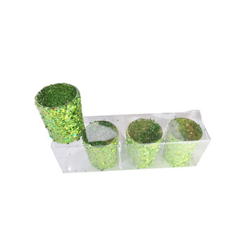 "2.5"" Green Glitter Votive Candle Holder"