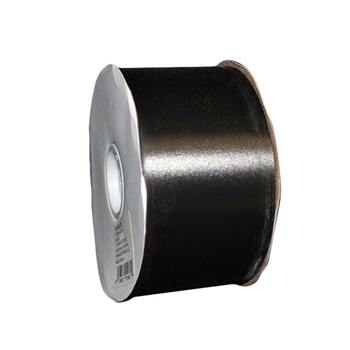 "2 3/4"" Black Flora-Satin Ribbon"