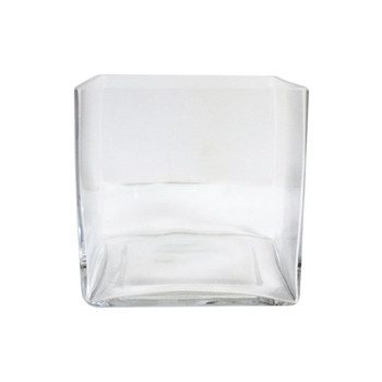 "6"" Clear Glass Cube Vase"