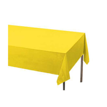"108"" x 54"" Yellow Rectangular Plastic Table Cover"