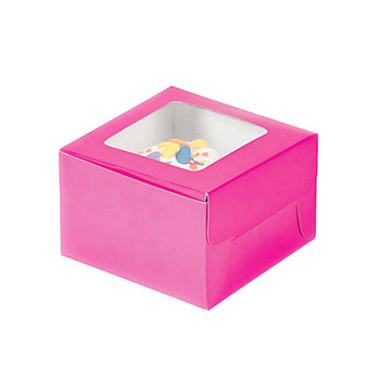 "4.5"" Hot Pink Cupcake Boxes"