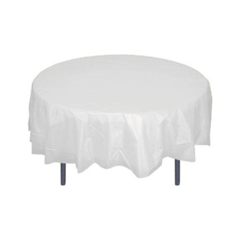 "84"" White Round Plastic Table Cover"