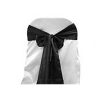 Black Satin Chair Bow 6 Pcs