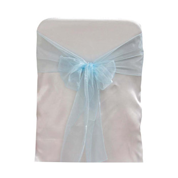 L. Blue Organza Chair Bow 6 Pcs