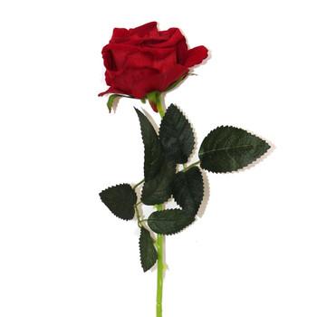 """21"""" Red Velvet Long Stem Single Rose Flower"""