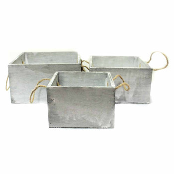 White Square Wood Container With Rope Handles Set of 3