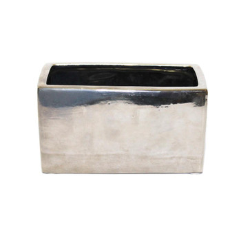 "8"" x 4""H Silver Rectangular Ceramic Vase"