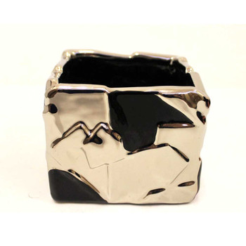 "5"" Black and Silver Ceramic Cube"