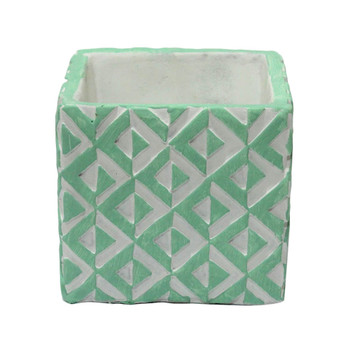 """4"""" Green And White Ceramic Cube"""