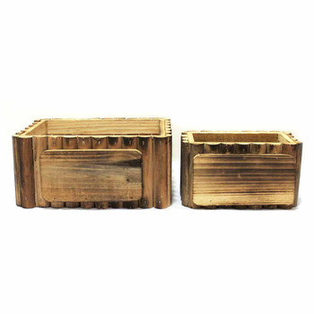 Rectangular Wood Container Set of 2