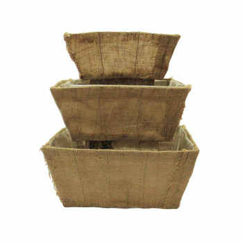 Burlap Square Container Set/3