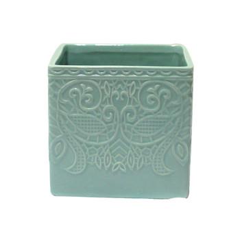 """4.5""""  Blue Ceramic Cube"""