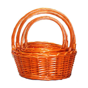 Orange Round Willow Basket With Handles Set of 4