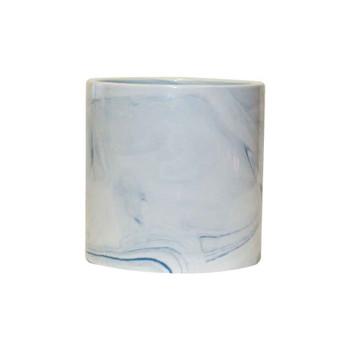 """4.5"""" Ceramic Cylinder  Vase With Blue Detail"""