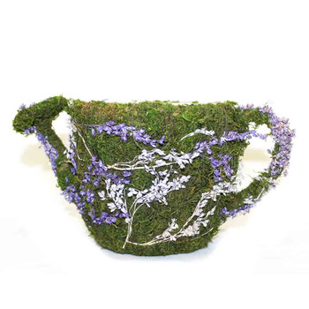 Purple Flowers Detail Moss Watering Can