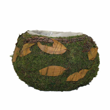Moss Bowl Basket With Leaves