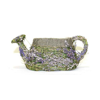 Purple Flowers and Burlap Detail Wicker Moss  Watering Can