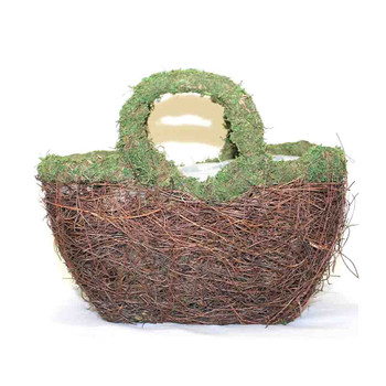 Oval Twiggy Vine and Moss Basket With Handle