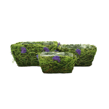 Square Moss Basket with Flowers Set of 3