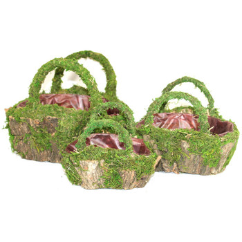 Oval Moss and Bark Basket With Handle Set of 3