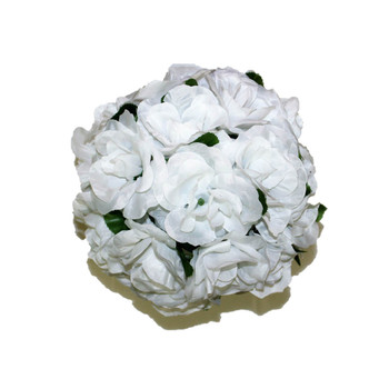 "10"" White With Green Leaves Flower Ball"