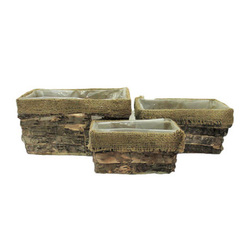 L.Brown Rectangular Bark and Burlap Basket Set of 3