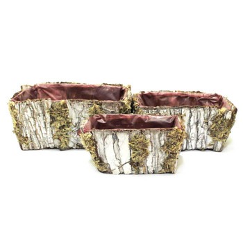 Brown Rectangular Bark Basket Set of 3