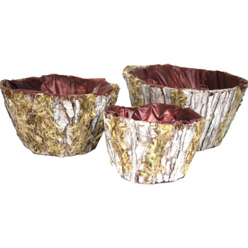 Round Bark Basket Set of 3