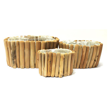 Oval Wood Basket Set of 3