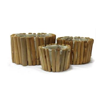 Round Wood Basket Set of 3