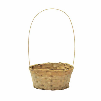 "8"" Round Bamboo Basket  With Handle"