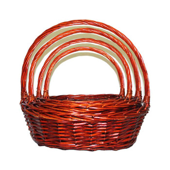 Brown Oval Willow Basket With Handle Set of 4