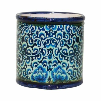 "4"" Blue Mosaic Ceramic Cylinder"