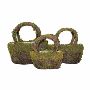Oval Moss Rattan Basket With Handle Set of 3