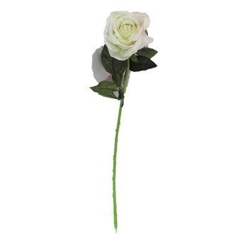 "20"" White Velvet Long Stem Single Rose Flower"