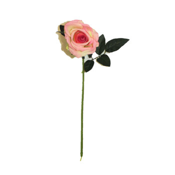 "20"" Pink Velvet Long Stem Single Rose Flower"