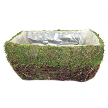 Square Moss Basket With Rattan V2