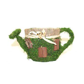 Moss and Bark Watering Can With Burlap Detail