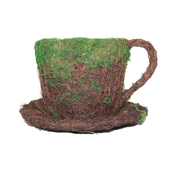 Rattan Teacup W/ Moss