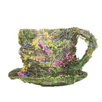 Assorted Flowers Wicker Moss Teacup