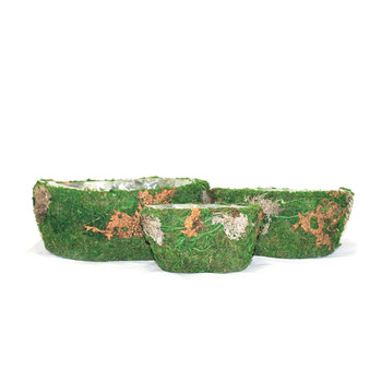 Oval Moss and Bark Basket Set of 3