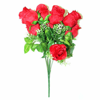 "15"" Red Bunch Of Roses. 9 Stems.Baby Breath"