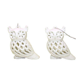 White Christmas Owl Ornaments