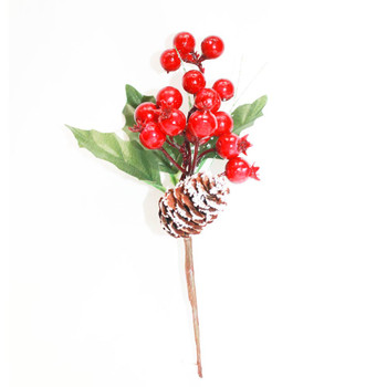 Red Berries Pick with Green Leaves and Flocked Pine Cone