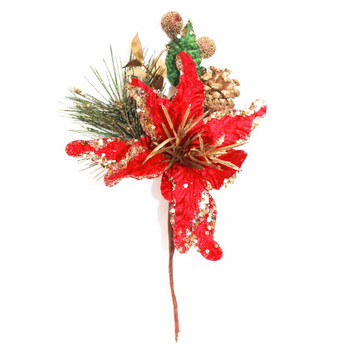 Red and Gold Poinsettia Pick with Pine Cone Christmas