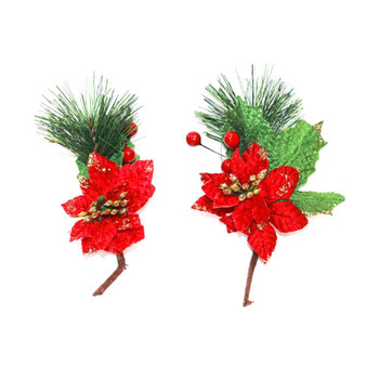 Red Poinsettia Picks with Berries Christmas