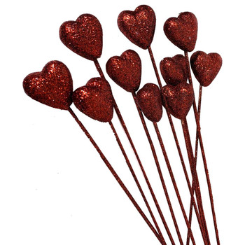 "1.5"" Glitter Red Heart Picks - 10 Pieces"