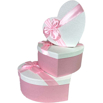"12"" Pink & White Floral Heart Gift Box with Ribbon - Set of 3"
