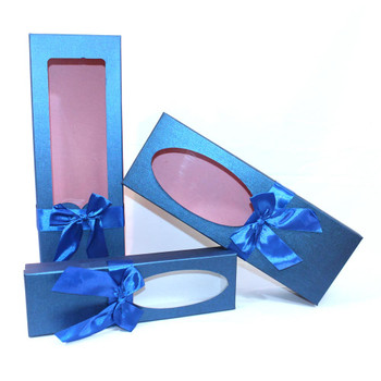 """17.5"""" Blue Floral Gift Boxes with Window Set of 3"""