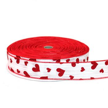 """1.5"""" White & Red Glitter Hearts Ribbon"""